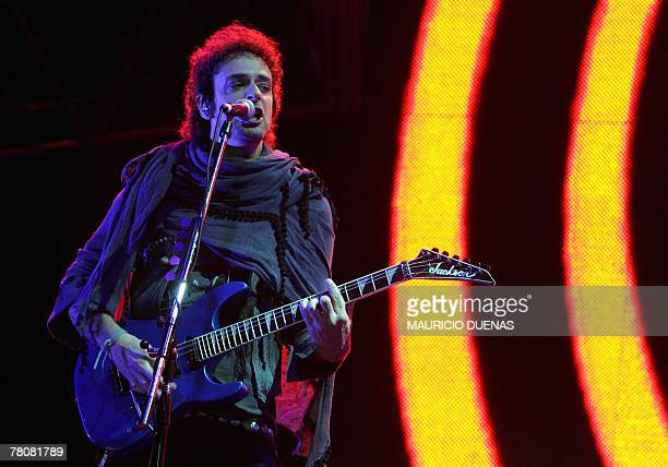 """Gustavo Cerati of Argentina's rock band Soda Stereo performs during their 2007 Tour """"Me Veras Volver"""" concert, 24 November 2007, in Bogota. AFP..."""