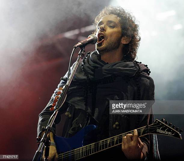 Gustavo Cerati of Argentina's rock group Soda Stereo performs during the first concert of the 2007 Tour Me Veras volver at the Monumental stadium in...