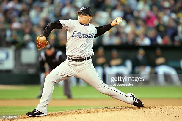 Gustavo Chacin of the Oakland Athletics pitches during the game with the Toronto Blue Jay at McAfee Coliseum on April 11 2005 in Oakland California