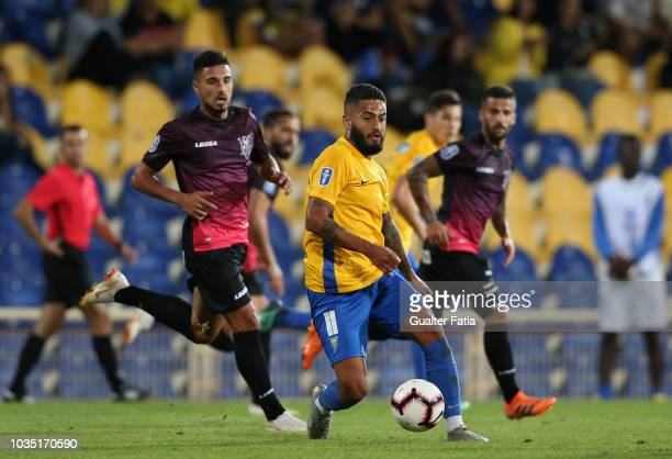 Gustavo Costa of GD Estoril Praia in action during the Portuguese League Cup match between GD Estoril Praia and CD Feirense at Estadio Antonio...