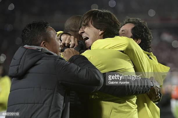 Gustavo Costas coach of Santa Fe celebrates after a second leg final match between Santa Fe and Deportes Tolima as part of Liga Aguila II 2016 at El...