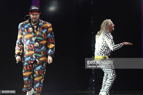 Gustavo 'Cucho' Parisi of the Auténticos Decadentes performs at the stage in Quinta Vergara during Viña del Mar 58th International Song Festival on...