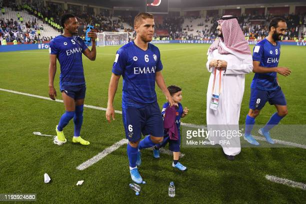 Gustavo Cuellar of Al Hilal SFC celebrates with teammates after their sides victory during the FIFA Club World Cup 2nd round match between Al Hilal...
