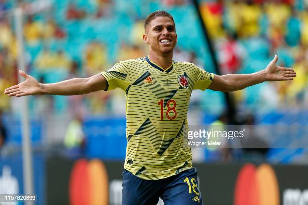 Gustavo Cuellar of Colombia celebrates after scoring the first goal of his team during the Copa America Brazil 2019 group B match between Colombia...