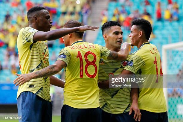 Gustavo Cuellar of Colombia celebrates with teammates after scoring the first goal of his team during the Copa America Brazil 2019 group B match...