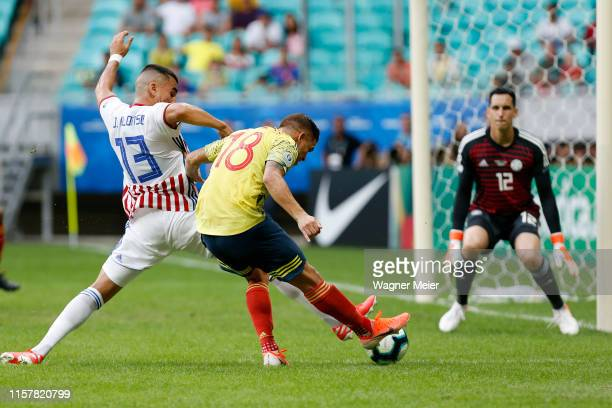 Gustavo Cuellar of Colombia kicks the ball to score the first goal of his team during the Copa America Brazil 2019 group B match between Colombia and...