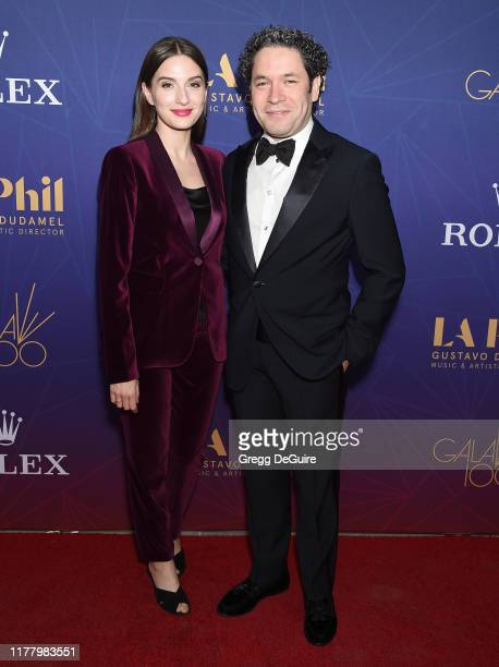 Gustavo Dudamel and Maria Valverde arrive at The Los Angeles Philharmonic Centennial Birthday Celebration Concert And Gala at Walt Disney Concert...