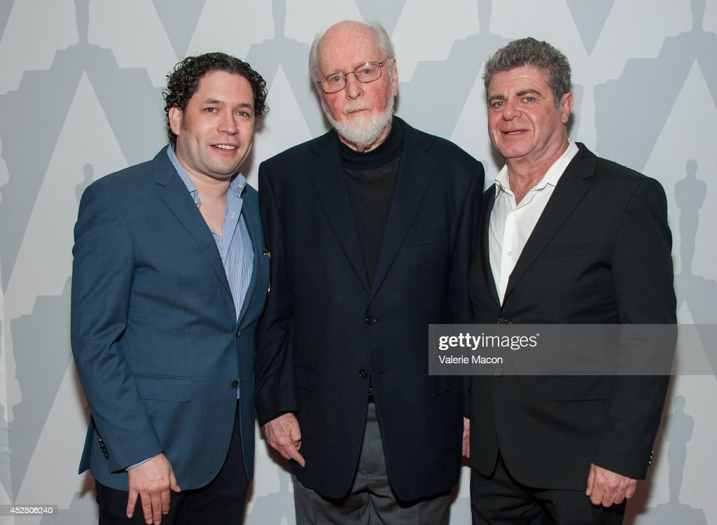 Gustavo Dudamel, John Williams and Gustavo Santaolalla arrive at The Academy Of Motion Picture Arts And Sciences' Presents 'Behind The Score: The Art Of The Film Composer' at Bing Theatre At LACMA on July 21, 2014 in Los Angeles, California.
