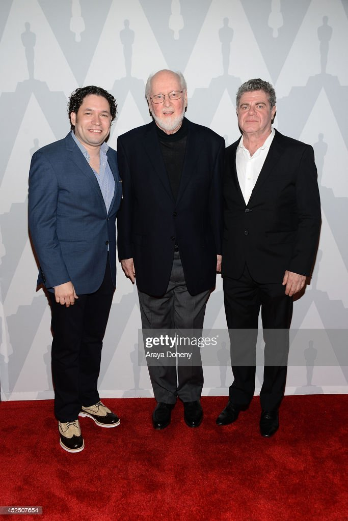 Gustavo Dudamel, John Williams and Gustavo Santaolalla attend The Academy Presents 'Behind The Score: The Art Of The Film Composer' at Bing Theatre At LACMA on July 21, 2014 in Los Angeles, California.