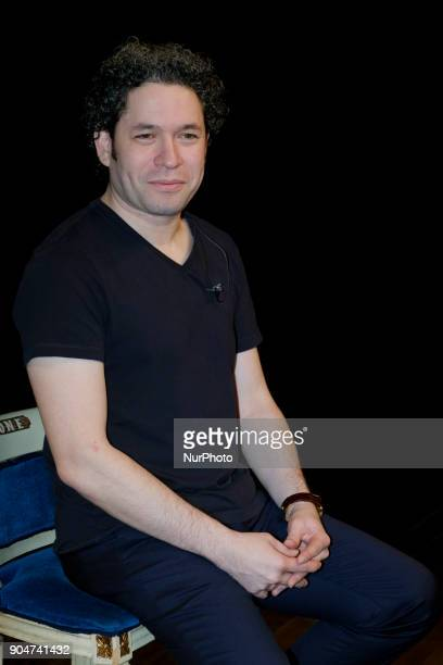 Gustavo Dudamel poses during the classical music concert offered at the at The Royal Theater on January 13 2018 in Madrid Spain
