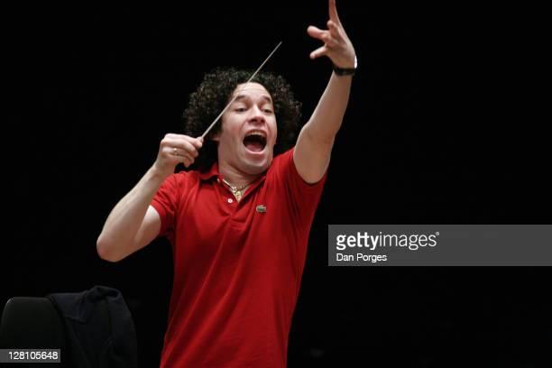 Gustavo Dudamel Venezuelan conductor conducting in rehearsal the Israel Philharmonic Orchestral at the Mann Auditorium in Tel Aviv