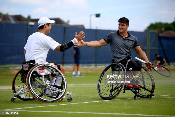 Gustavo Fernandez of Argentina and Shingo Kunieda of Japan during their Men's Doubles Final match against Stephane Houdet of France and Stefan Olsson...