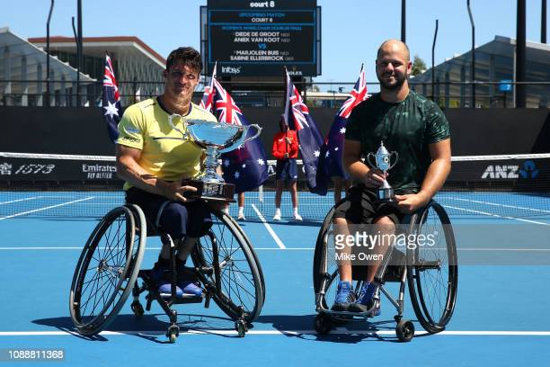 Gustavo Fernandez of Argentina and Stefan Olsson of Sweden pose after their Men's Wheelchair Singles Final during day 13 of the 2019 Australian Open...