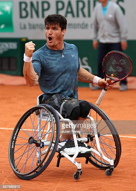 Gustavo Fernandez of Argentina celebrates during the Men's Wheelchair Singles final match against Gordon Reid of Great Britain on day fourteen of the...