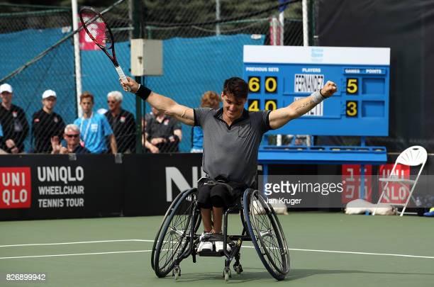 Gustavo Fernandez of Argentina celebrates victory over Alfie Hewett of Great Britain during the British Open Wheelchair Tennis mens singles final...