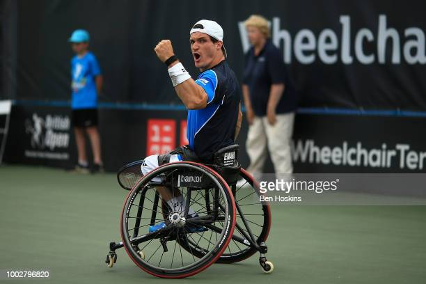 Gustavo Fernandez of Argentina celebrates winning a point during his semi final match against Shingo Kunieda of Japan on day four of The British Open...