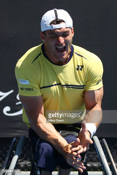 Gustavo Fernandez of Argentina celebrates winning championship point in his Men's Wheelchair Singles Final against Stefan Olsson of Sweden during day...