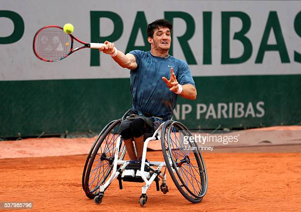 Gustavo Fernandez of Argentina hits a forehand during the Men's Wheelchair Singles final match against Gordon Reid of Great Britain on day fourteen...