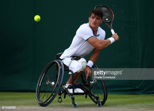 Gustavo Fernandez of Argentina in action during his Gentlemen's Wheelchair singles final against Stefan Olsson of Sweden on day thirteen of the...