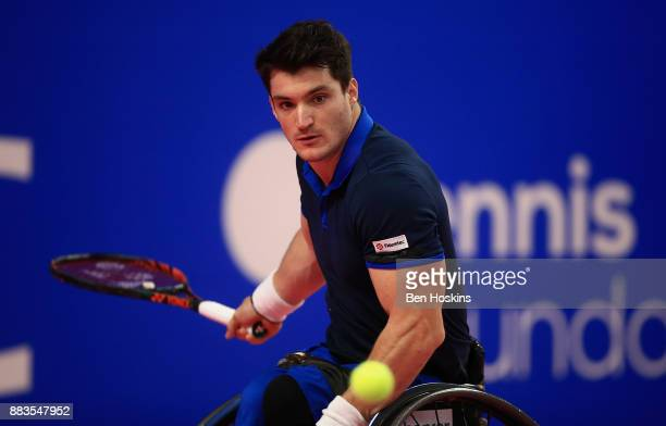 Gustavo Fernandez of Argentina in action during his match against Gordon Reid of Great Britain on day 3 of The NEC Wheelchair Tennis Masters at...