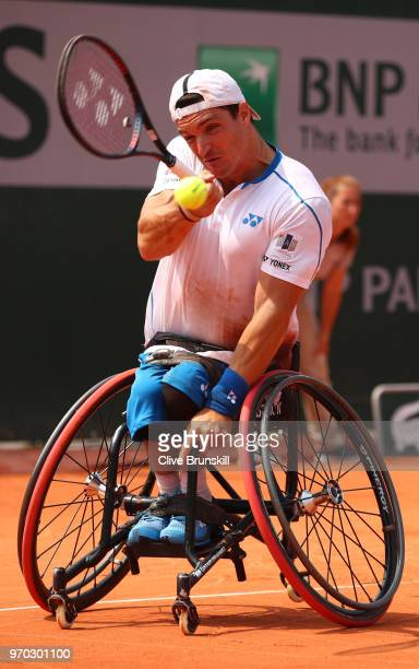 Gustavo Fernandez of Argentina in action during the mens singles wheelchair final against Shingo Kunieda of Japan during day fourteen of the 2018...
