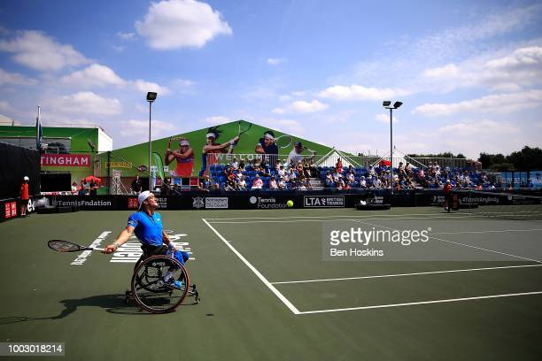 Gustavo Fernandez of Argentina plays a forehand during his semi final match against Shingo Kunieda of Japan on day five of The British Open...