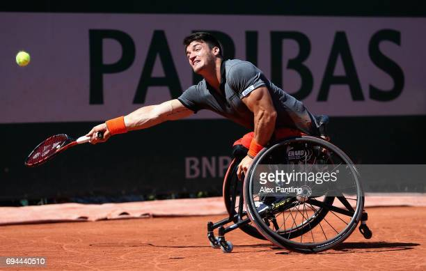 Gustavo Fernandez of Argentina plays a forehand during the mens singles wheelchair final match against Alfie Hewett of Great Britain on day fourteen...