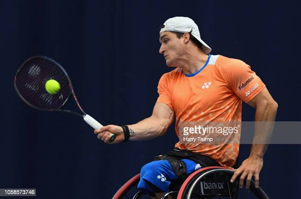 Gustavo Fernandez of Argentina plays a shot during Day Two of the Bath Indoor Wheelchair Tennis Tournament 2018 at the University of Bath on November...