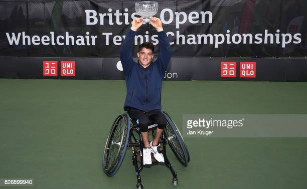 Gustavo Fernandez of Argentina poses with the trophy after the British Open Wheelchair Tennis mens singles final match against Alfie Hewett of Great...