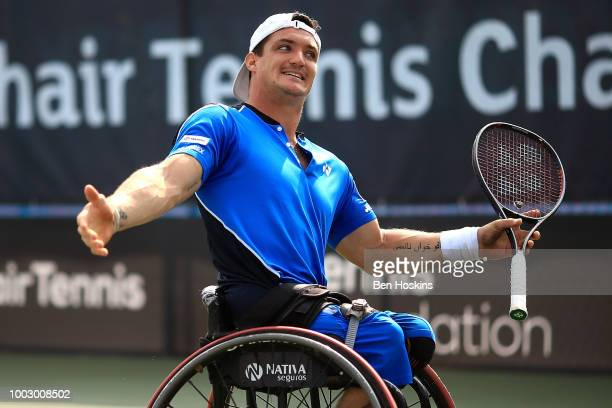 Gustavo Fernandez of Argentina reacts during his semi final match against Shingo Kunieda of Japan on day five of The British Open Wheelchair Tennis...