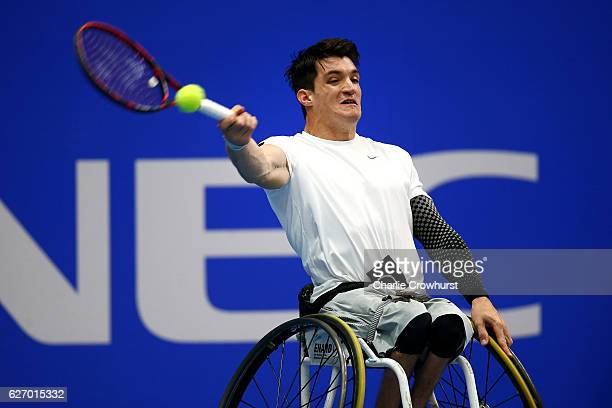 Gustavo Fernandez of in action during his round robin mens singles match against Gordon Reid of Great Britain on Day 2 of NEC Wheelchair Tennis...