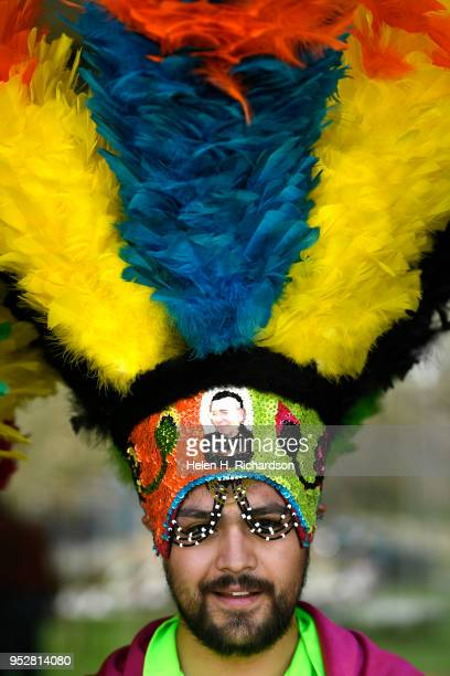 Gustavo Flores a dancer with Danza Matachina Guadalupana shows off his spectacular headdress that weighs over 10 lbs outside of the Clyfford Still...
