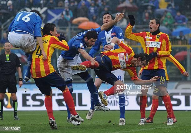Gustavo Franchin Schiavolin of Lecce clashes with Victor Hugo Mareco of Brescia Calcio during the Serie A match between Brescia Calcio and Lecce at...