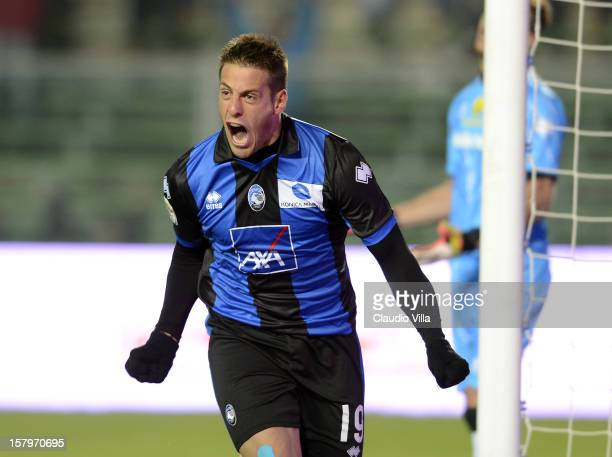Gustavo German Denis of Atalanta BC celebrates scoring the first goal during the Serie A match between Atalanta BC and Parma FC at Stadio Atleti...