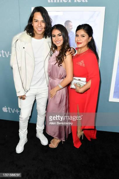 Gustavo Gomez Jearnest Corchado and Melinna Bobadilla attend the premiere of Apple TV's Little America at Pacific Design Center on January 23 2020 in...