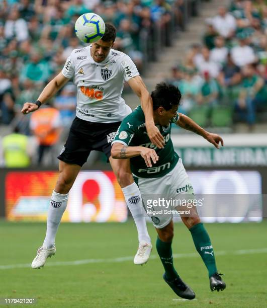 Gustavo Gomez of Palmeiras jump for the ball with Di Santo of Atletico MG during a match between Palmeiras and Atletico MG for the Brasileirao Series...