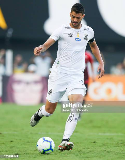 Gustavo Henrique of Santos controls the ball during the match against Athletico PR for the Brasileirao Series A 2019 at Vila Belmiro Stadium on...