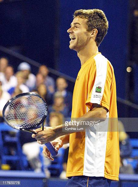 "Gustavo Kuerten during 2002 Mercedes-Benz Cup - ""A Night at the Net"" - Celebrity Match at Los Angeles Tennis Center, UCLA in Los Angeles, California,..."