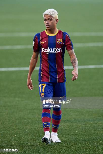 Gustavo Maia of FC Barcelona B looks on during the Segunda Division B Group IIIA match between CE L'Hospitalet and FC Barcelona B at Estadi Municipal...
