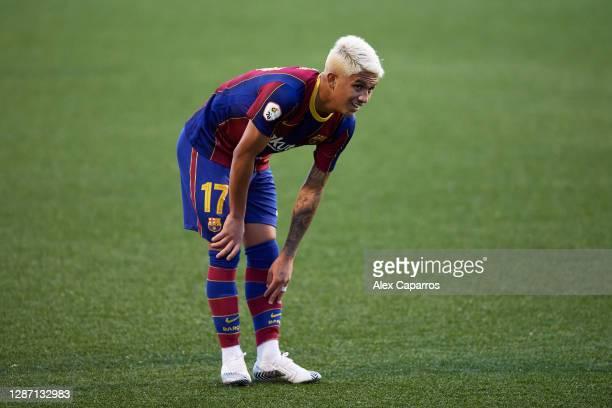 Gustavo Maia of FC Barcelona B reacts during the Segunda Division B Group IIIA match between CE L'Hospitalet and FC Barcelona B at Estadi Municipal...