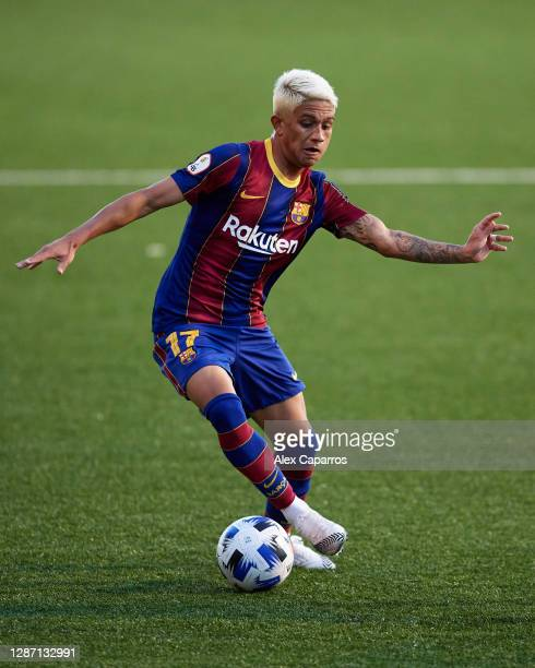 Gustavo Maia of FC Barcelona B runs with the ball during the Segunda Division B Group IIIA match between CE L'Hospitalet and FC Barcelona B at Estadi...