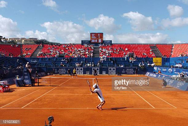 Gustavo Marcaccio of Argentina in action during his loss to Carlos Moya, 1-6, 5-7, in the second round of the Estoril Open 2006 at the Estadio...
