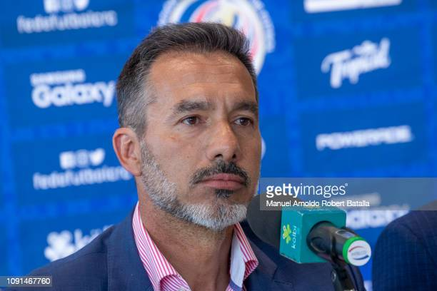Gustavo Mastosas speaks during his presentation as Costa Rica's new Coach January 08 2019 in San Jose Costa Rica