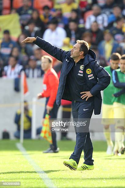 Gustavo Matosas coach o America gives instructions to his players during a friendly match between America and Monterrey at BBVA Compass Stadium on...