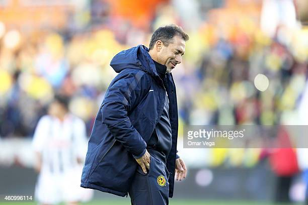 Gustavo Matosas coach of America gestures during a friendly match between America and Monterrey at BBVA Compass Stadium on January 03 2015 in Houston...