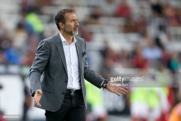 Gustavo Matosas coach of Atlas gestures during a 6th round match between Atlas and Toluca as part of the Apertura 2015 Liga MX at Jalisco Stadium on...