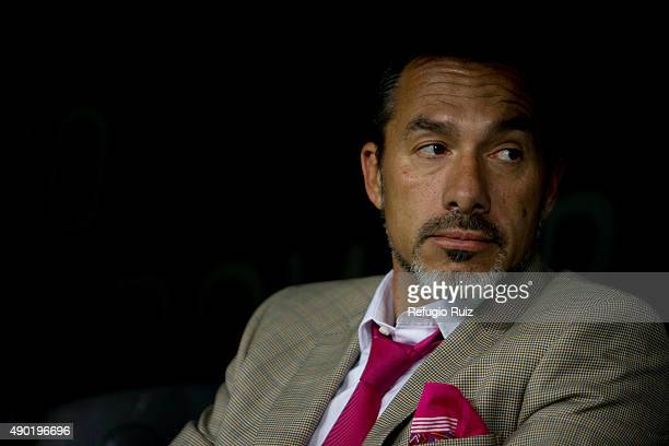 Gustavo Matosas coach of Atlas looks on during a 10th round match between Atlas and Veracruz as part of the Apertura 2015 Liga MX at Jalisco Stadium...
