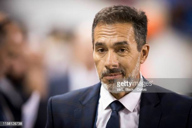 Gustavo Matosas Head Coach for Costa Rica at the start of the Concacaf Gold Cup Group B match between Haiti and Costa Rica at Red Bull Arena in...