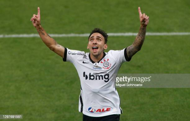 Gustavo Mosqueito of Corinthians celebrates after scoring his team first goal during a match between Corinthians and Sport Recife as part of...