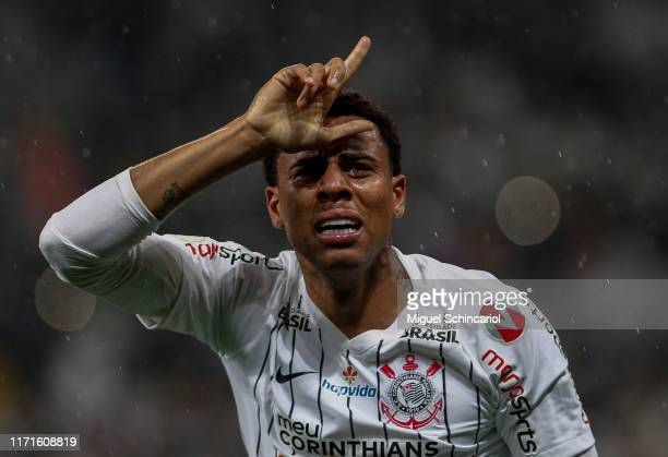Gustavo of Corinthians celebrates his team first goal during a match between Corinthians and Palmeiras for the Brasileirao Series A 2019 at Arena...